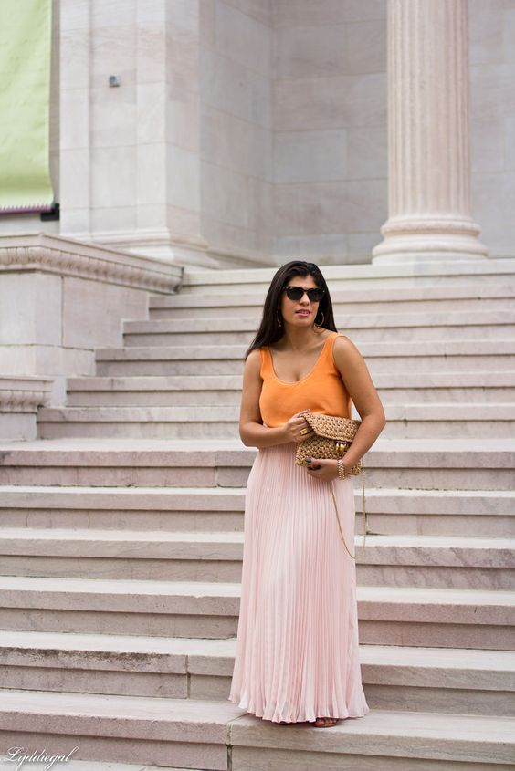 Blush chiffon maxi skirt, orange silk blouse