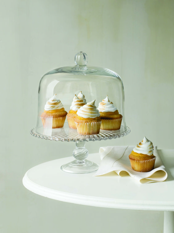 This pressed glass cake stand will perfectly preserve your favorite cake or cupcakes. $69.99