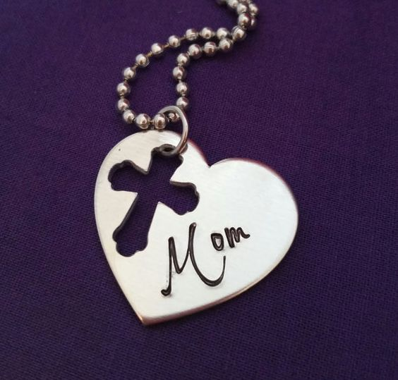 Hand stamped personalized heart mom necklace with cross cutout