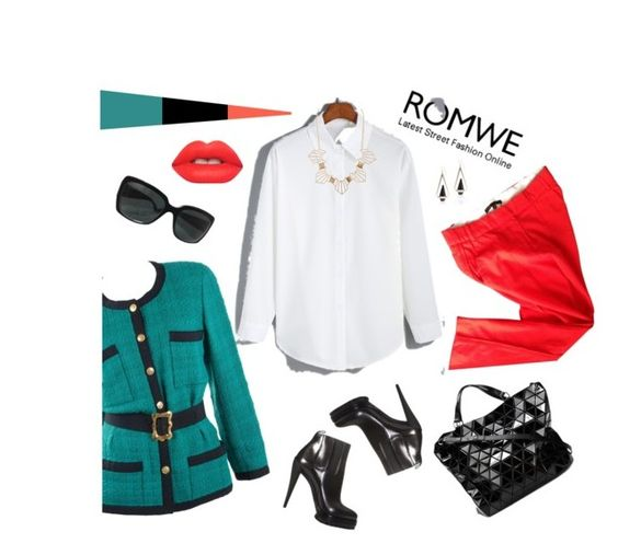 """""""romwe white blouse"""" by svetalukashevich ❤ liked on Polyvore featuring Chanel, Casadei, Maje, Charlotte Russe, Lime Crime and romwe"""