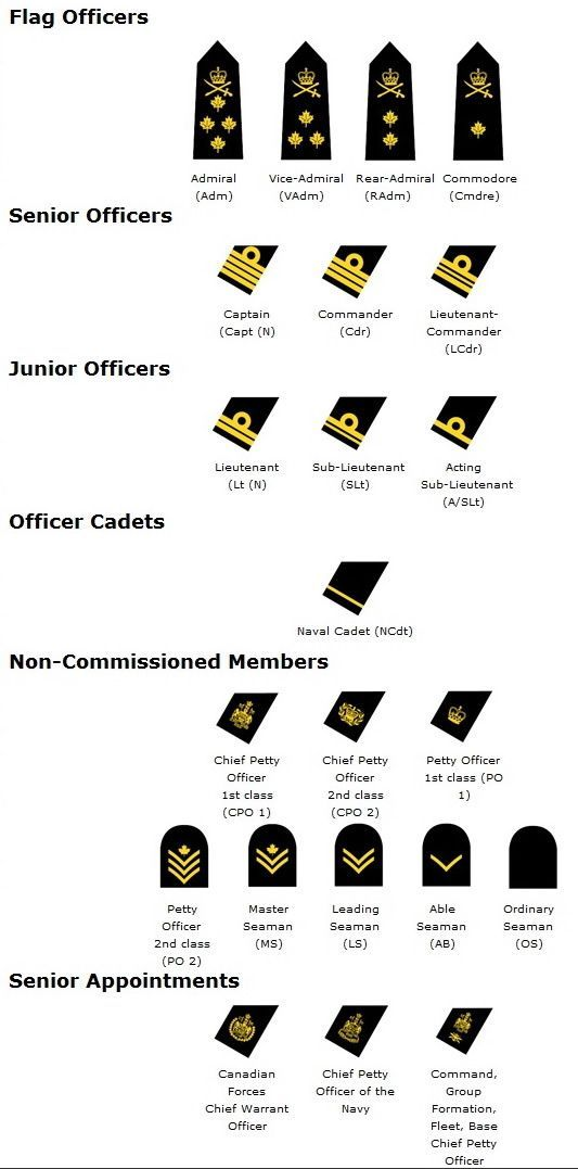 Navy Rank Structure Chart For The Canadian Military Navy Ranks