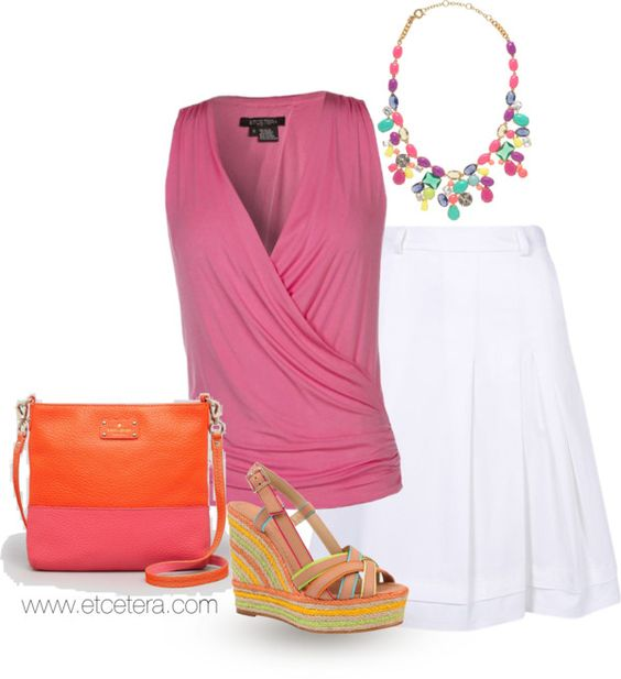 Summer Fun! Cupcake top and Starlit A-line skirt with asymmetrical pleats, by Etcetera; Kate Spade wedges, bag, and necklace.