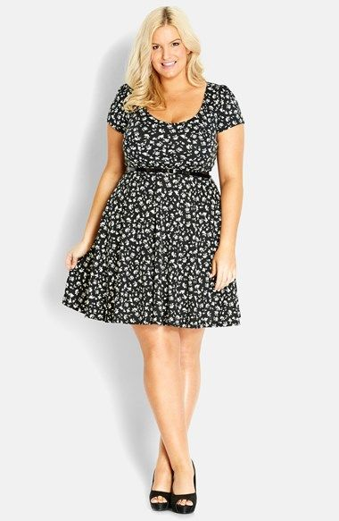 City Chic 'Surprise Back' Floral Swing Dress (Plus Size) available at #Nordstrom