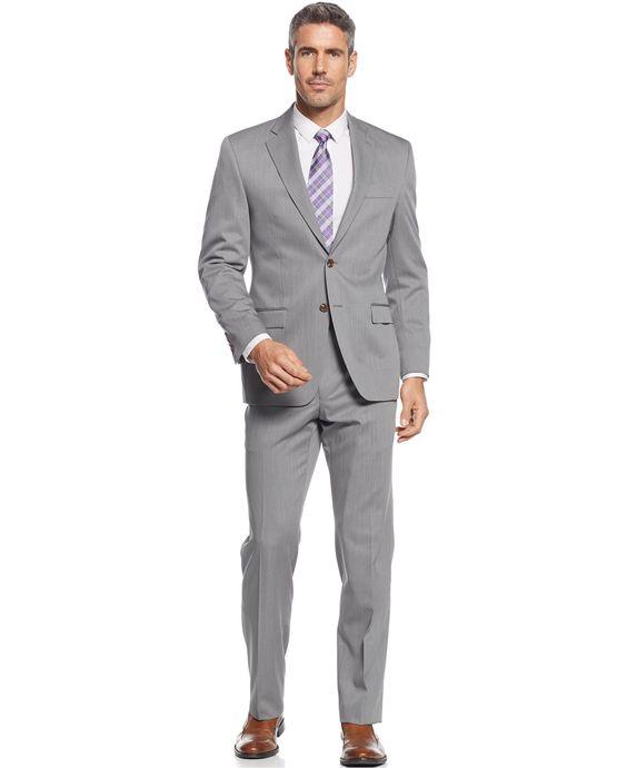 Lauren Ralph Lauren Big and Tall Light Grey Solid Classic-Fit Suit