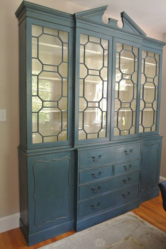 A gorgeous china cabinet finished in Aubusson Blue Chalk Paint® decorative paint by Annie Sloan and Soft Wax   By Farmhouse Blues Interiors I'm doing this to my old china cabinet!