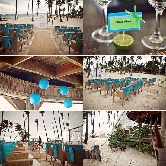 Jellyfish wedding decor. Turquoise & lime green.