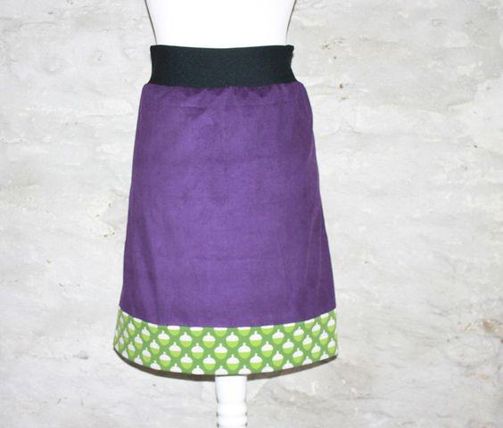 Midiröcke - Herbstrock lila Cordrock violett Rock nach Maß - ein Designerstück…