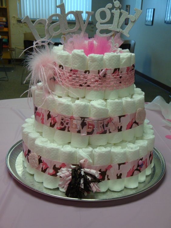 cakes pink baby shower diapers diapers change to camo baby showers