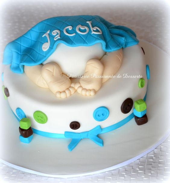 Baby boy shower cake g teau shower b b gar on cakes - Idees deco bapteme garcon ...