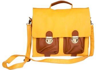 Kleine zweifarbige Schultasche aus Leder