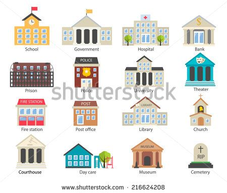 color government buildings icons set in flat design style vector illustration includes school