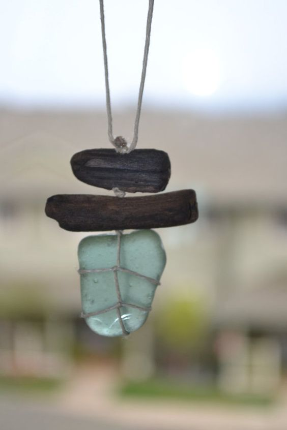Sea glass and driftwood necklace/charm by Grazim on Etsy, $15.00