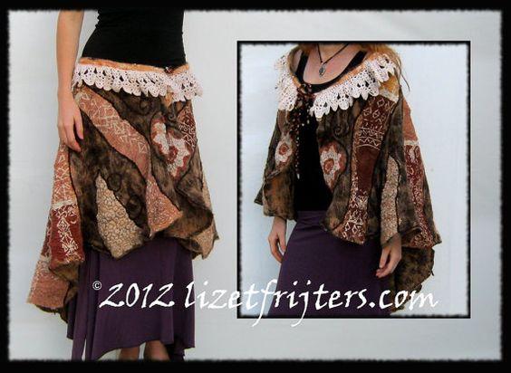 SALE - Tribal Nuno Felt Art Poncho - Cape - Shawl - Wrap Skirt - Brown and Apricot - Multi Purpose - Convertible