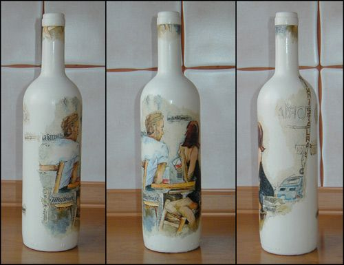 DeviantArt: More Like Another decoupage bottle by AmanitaFranchetii