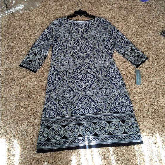 NWT London Times sheath dress London Times black and blue sheath dress. NWT size 14. Stretchy material. London Times Dresses