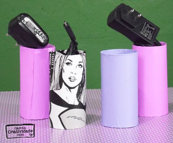 Recicle rolinhos de papel higiênico - Organizar cabos - Depois…