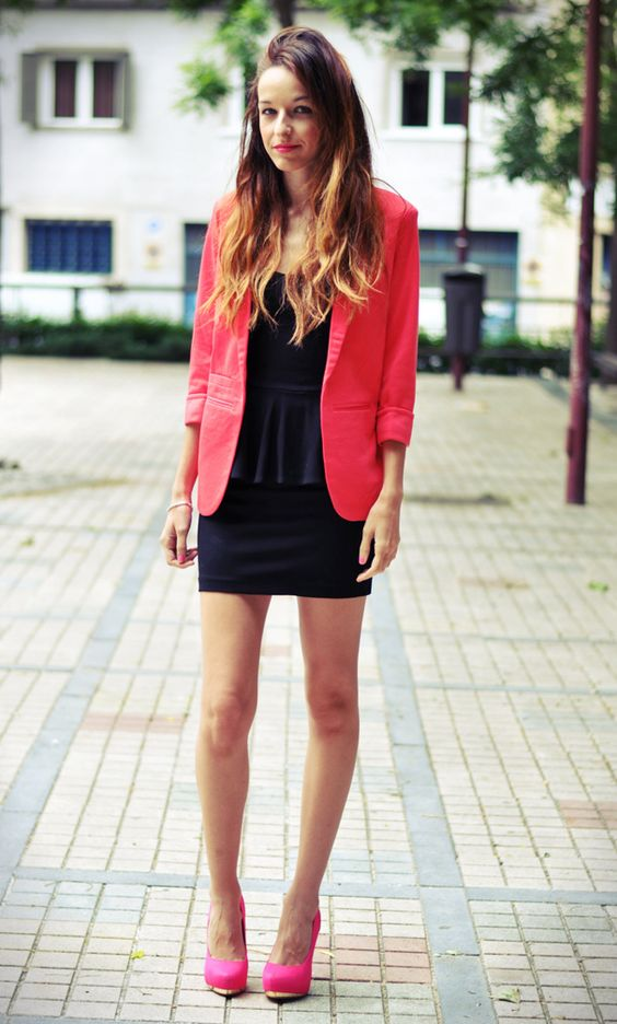 Bright pink blazer over black peplum dress with pink heels | what ...
