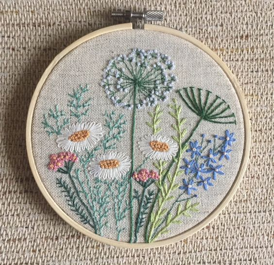 Flowers and herbs embroidery hoop art gift for her / Floral | Etsy