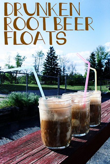 Drunken Root Beer Floats by coreymarie♥com  the recipe couldn't be simpler: Add a scoop or two of Vanilla Ice Cream to each of your glasses, then 2 oz.* of either Jägermeister or Vanilla Vodka. Finally, fill to the top with Root Beer and enjoy!