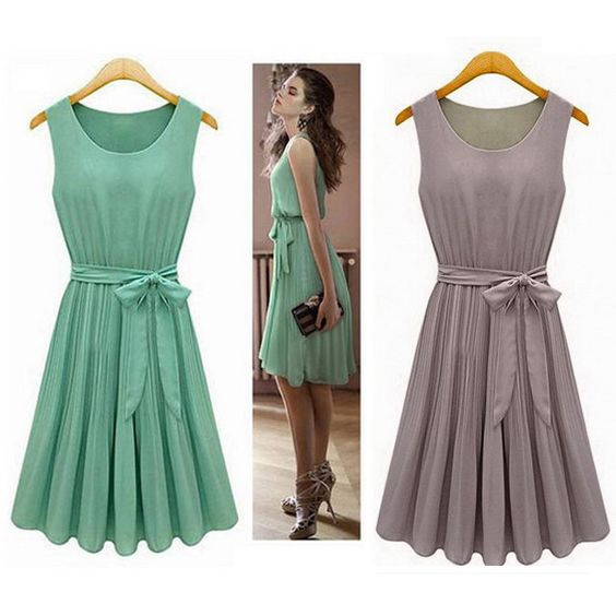 New 2014 Summer Casual Women Chiffon Dresses Sleeveless Vest Pleated Dress with Sashes, Green, Brown, S, M, L, XL-in Dresses from Women's Clothing & Accessories on Aliexpress.com | Alibaba Group