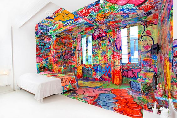 Tilt's half graffiti, half-pristine hotel room, aka the Panic Room. The room resides inside the Au Vieux Panier hotel in Marseille, France