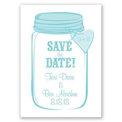 Mason Jar Save the Date by David's Bridal #davidsbridal #weddinginvitations #savethedate #rusticwedding