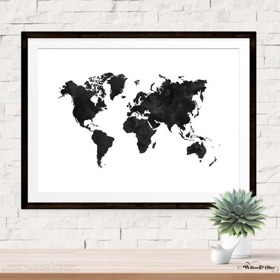 Pinterest the worlds catalog of ideas world map art print poster black and white printable wall art map print gumiabroncs Choice Image