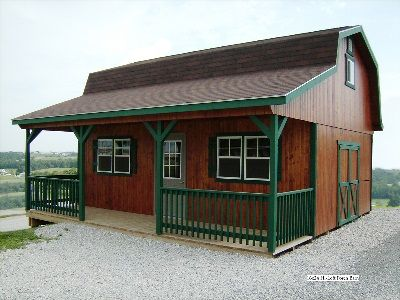 Hi loft porch barns sold in ohio amish buildings for Shed with porch and loft