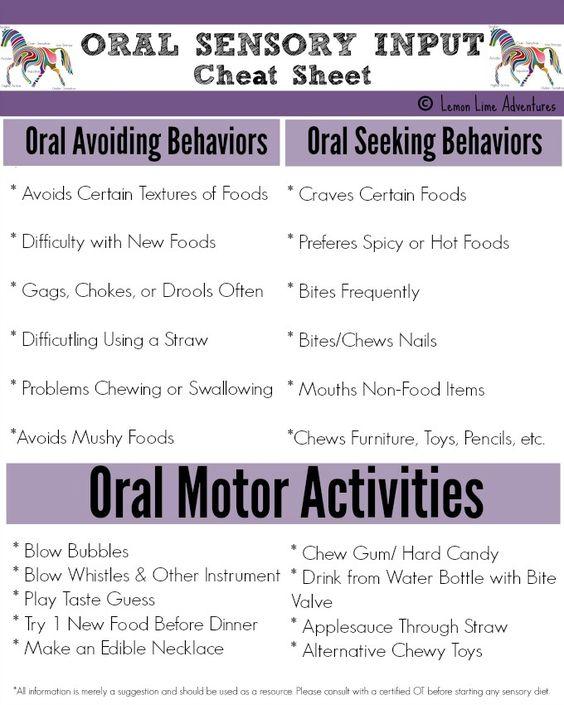 Oral Sensory Counseling Sensory Processing Pinterest