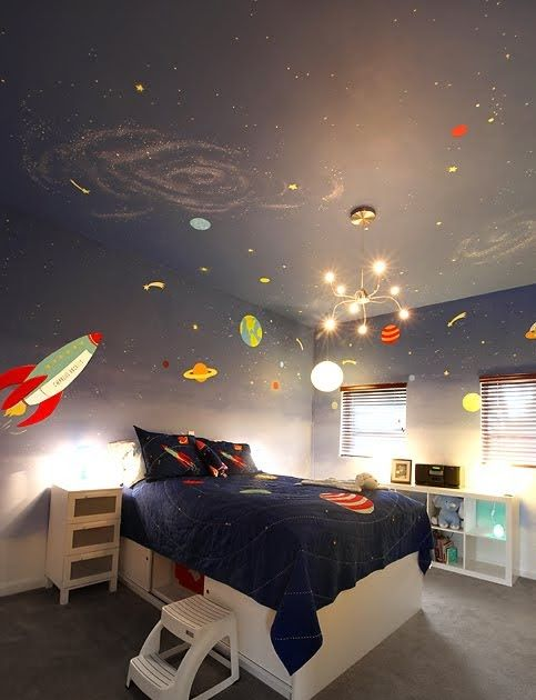 This was a super cool outer-space room we did for Charlie...an  adorable 8 year old boy that LOVESSS space, and rockets and stars...His mo...