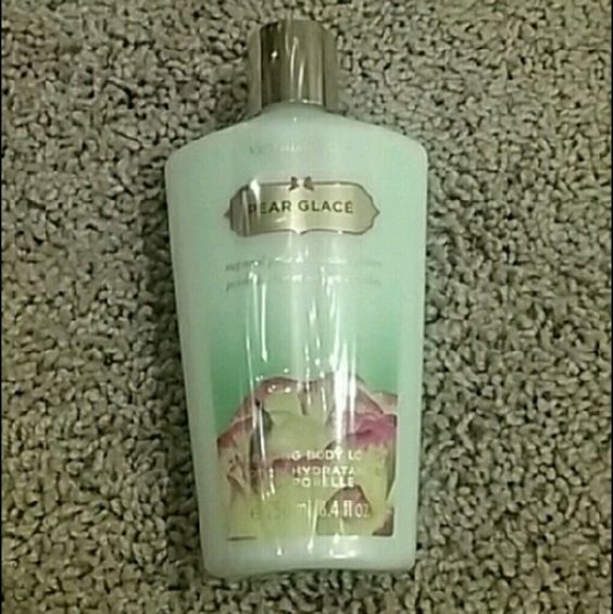 Victorias Secret Pesr Glace Body Lotion Brand new still in shipping plastic. 8.4fl oz Victoria's Secret bottle of Pear Glace Hydrating Body Lotion. Discontinued and sold out online!  Price firm unless bundled :) Victoria's Secret Other