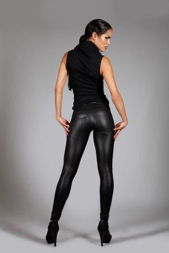 Leggings En Cuir W Dos De Jeans Pantalons De Spandex