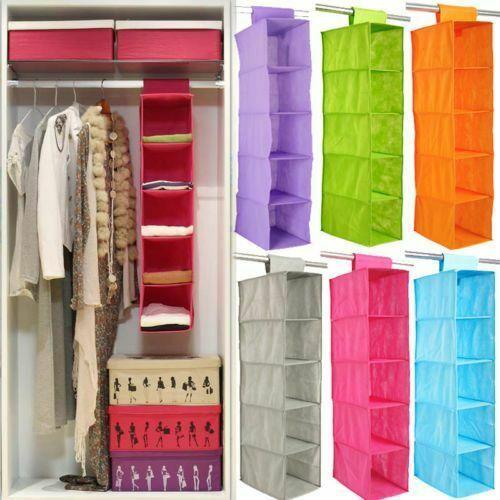 Tidy Hanger Kids Hanging Wardrobe Storage Organiser Shelf Clothes Bag Box Drawer