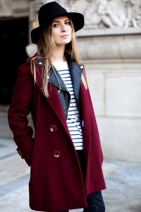 striped shirt   deep red coat   wide-brim hat | // LOOKS WE LOVE