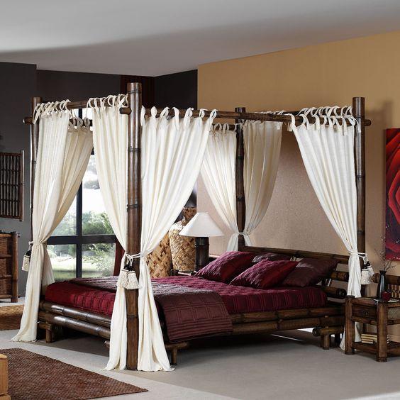 Bambus Himmelbett TABANAN negra 140x200 Möbel aus Bambus mit Vorhang Designbett in Möbel & Wohnen, Möbel, Betten & Wasserbetten | eBay