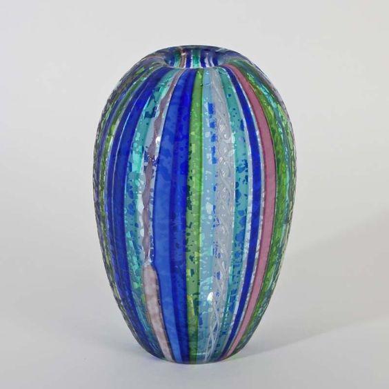 Cenedese Murano Glas Vase EGG a Canne Zanfirico teilweise matt # 3
