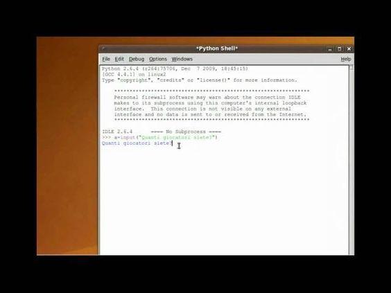 Tutorial 4 - Imparare Python - #Input #Italiano #Linguaggi #Linguaggio #Programmare #Programmazione #Python #RawInput #Tutorial #Ubuntu #Video http://wp.me/p7r4xK-Kq