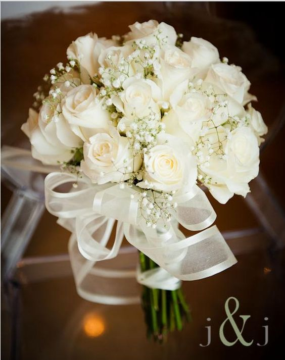 White Rose Bouquet with Baby's Breath