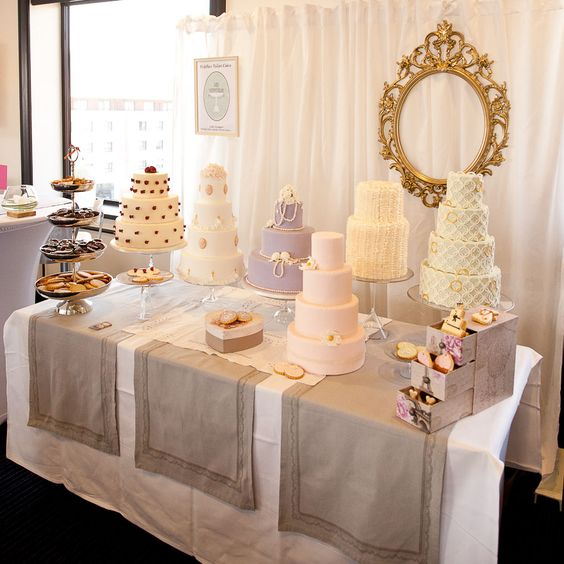 What Is A Wedding Fair: French Baker's Wedding Cake Selection Display
