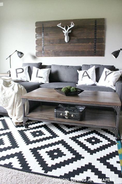 Modern Rustic Decor Living Rooms: Grey Sectional, Bonus Rooms And