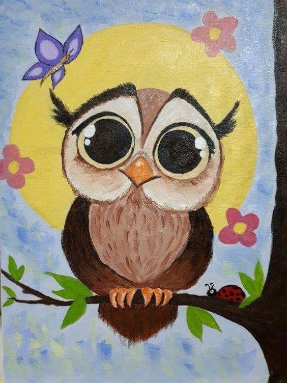 Pin By Peters Darya Aleksandrovna On Buhos Owl Canvas Painting Ideas Owl Artwork Owl Canvas Painting