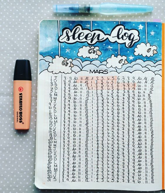 A sleep log to track your sleeping time daily - 9 self-care bujo pages to add to your journal now - Ourmindfullife.com