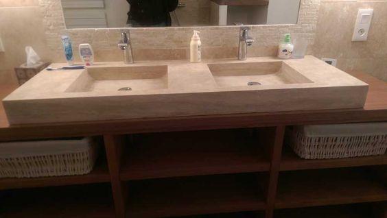 meuble en bois massif et plan vasque en pierre naturelle ... - Meuble Salle De Bain Pierre Naturelle