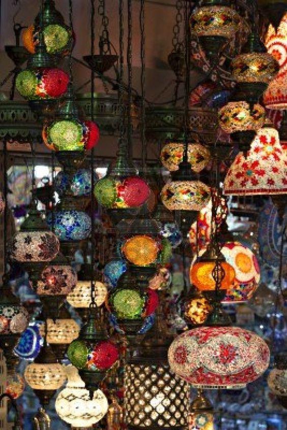 Hanging lanterns, Grand Bazaar, Istanbul, TURKEY.