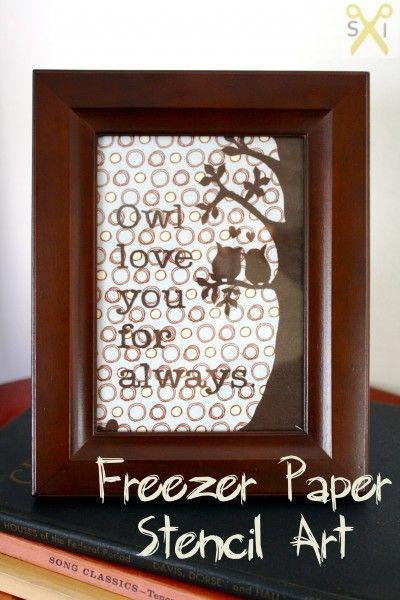 Freezer paper stencil owl nursery art