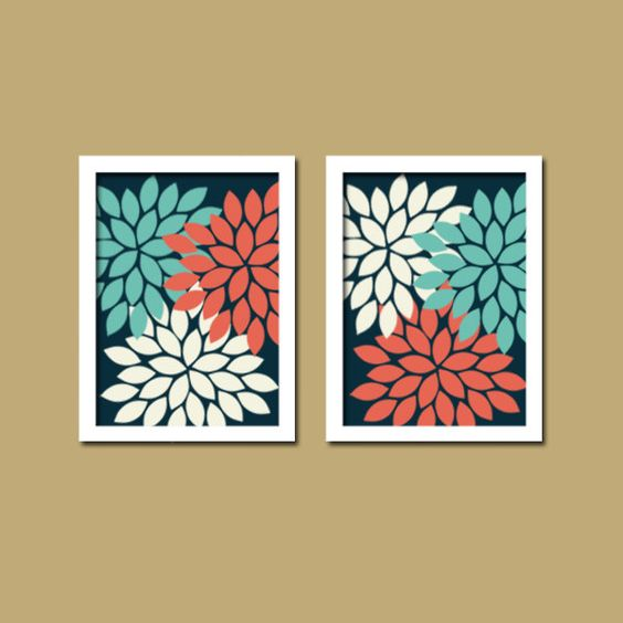 Coral Nursery Wall Decor : Coral turquoise navy wall art canvas or prints bathroom