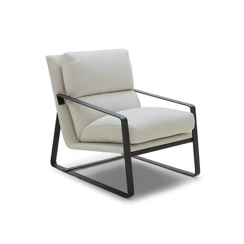 Modern Cream Beige Upholstered Arm Chair With Black Metal Frame