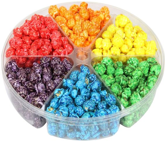 6-Section Candy Coated Popcorn Sampler Tray • Gourmet Candy Coated ...