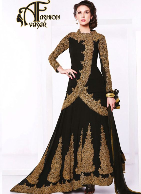 Anarkali Style Astounding Salwar Kameez in Black Color.This Black Georgette Unstitched Salwar Kameez is adding the enticing glamorous showing the feel of cute and graceful. The lovely Patch Work & Lace work a substantial attribute of this attire.