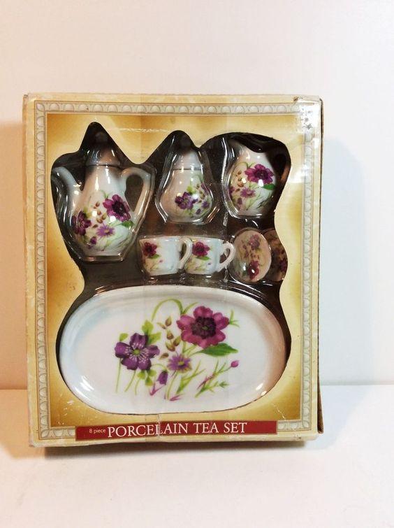 NIB Vintage Royal Norfolk Greenbrier Porcelain Miniature Tea Set ~ Flower Design